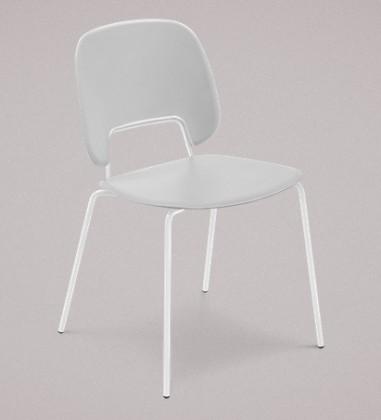 Stolička Traffic (lak biely matný, plast sv. sivá)