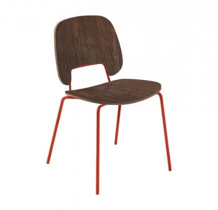 Stolička Traffic (lak červený matný, čokoládový jaseň)