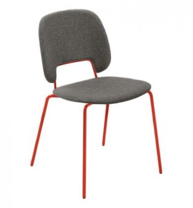 Stolička Traffic (lak červený matný, látka hnedá)