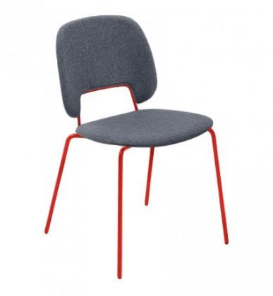 Stolička Traffic (lak červený matný, látka jeans)