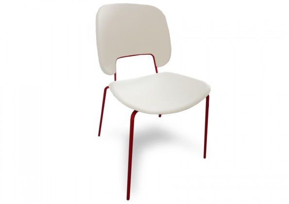 Stolička Traffic (lak červený matný, plast biela)