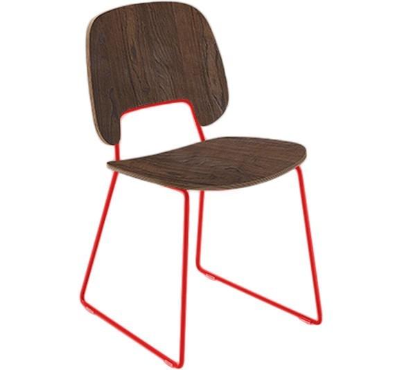 Stolička Traffic-t (lak červený matný, čokoládový jaseň)