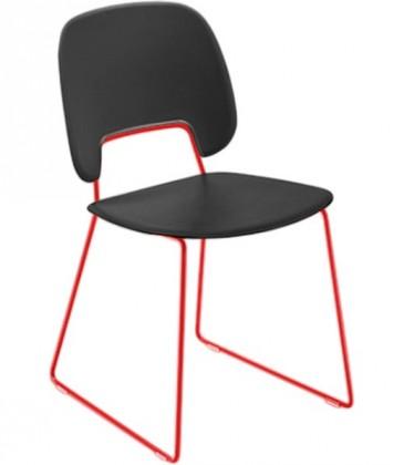 Stolička Traffic-t (lak červený matný, eko koža čierna)
