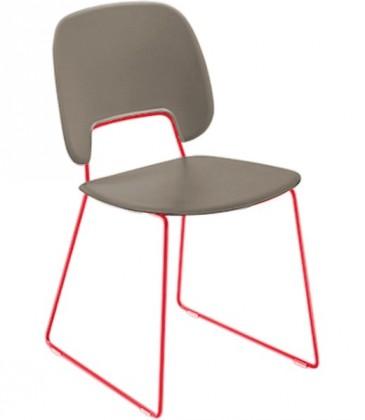 Stolička Traffic-t (lak červený matný, eko koža taupe)
