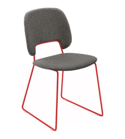 Stolička Traffic-t (lak červený matný, látka hnedá)