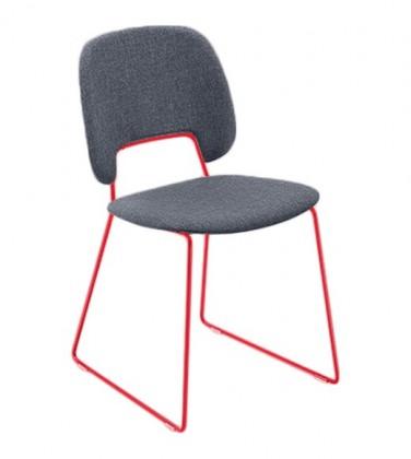Stolička Traffic-t (lak červený matný, látka jeans)
