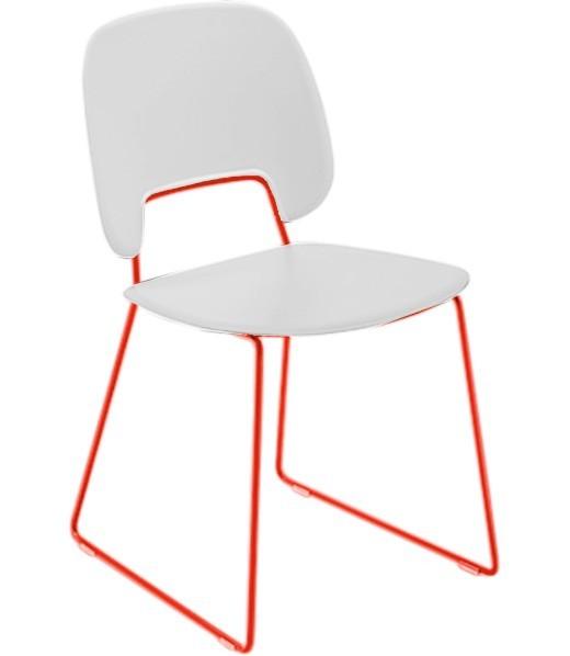 Stolička Traffic-t (lak červený matný, plast biela)