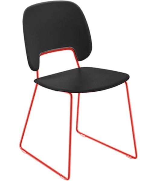 Stolička Traffic-t (lak červený matný, plast čierna)