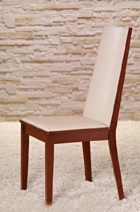 Stolička Vicente - Jedálenská stolička (čerešňa/eko kože krémová)