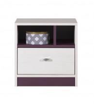 Stone - Nočný stolík ST13 (biela, fialová)