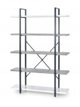 Stonno - regál vysoký (bielá/beton)
