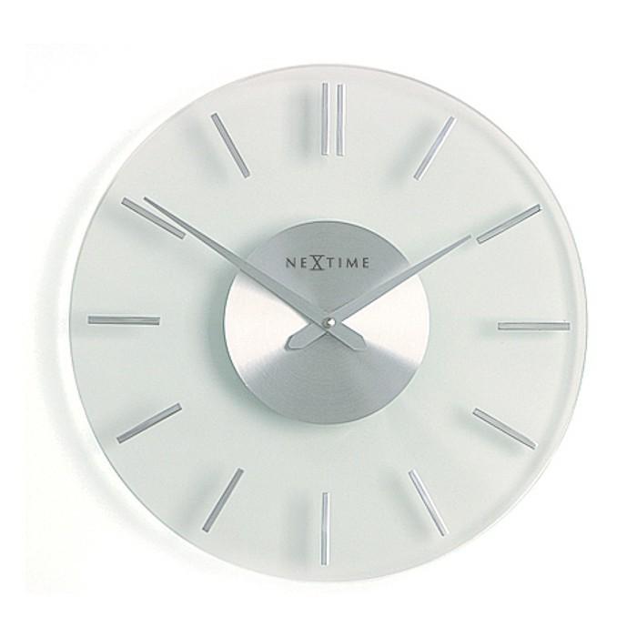Stripe - hodiny, nástenné, guľaté (sklo, biele)