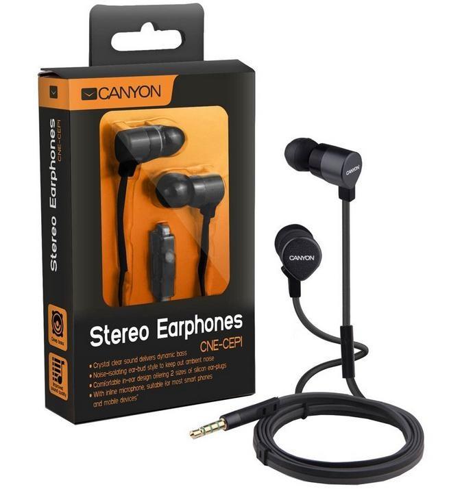 Štupľové CANYON kovová slúchadlá pecky do uší s mikrofónom, čierna