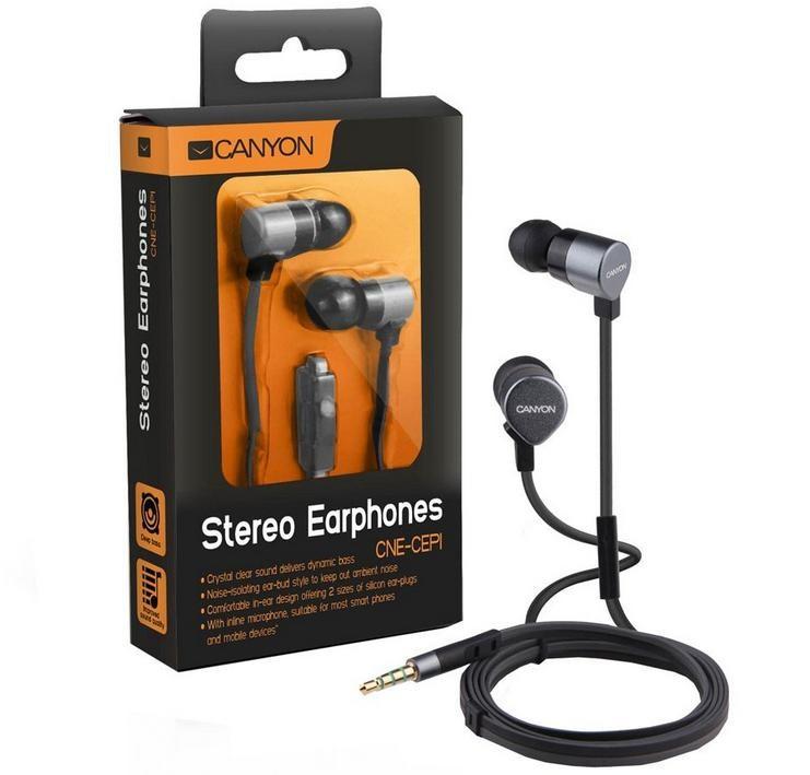 Štupľové CANYON kovová slúchadlá pecky do uší s mikrofónom, strieborná