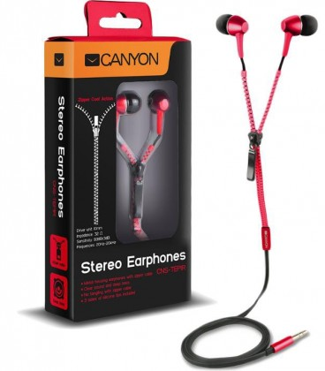 Štupľové CANYON slúchadlá do uší so zipsovým káblom, červená