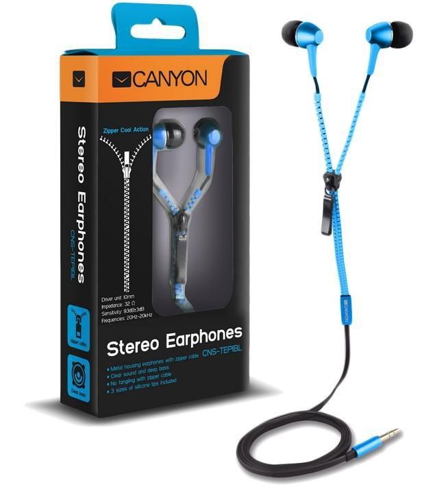 Štupľové CANYON slúchadlá do uší so zipsovým káblom, modrá