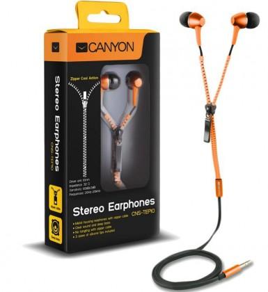 Štupľové CANYON slúchadlá do uší so zipsovým káblom, oranžová