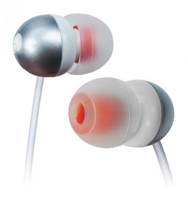 Štupľové Cygnett SpaceBuds, Earbuds - Silver\ White with Orange inner