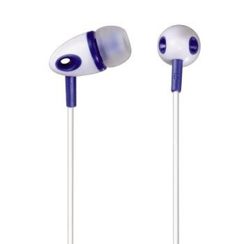 Štupľové Sluchátka ME-293, silikonové špunty, bílá/modrá ROZBALENO