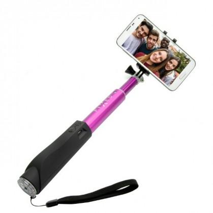 Stylusy a selfie držiaky Teleskopická selfie tyč FIXED s BT spouští, růžová