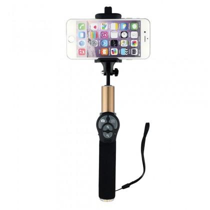 Stylusy a selfie držiaky Winner Group teleskopická tyč pro selfie foto s bluetooth zlatá