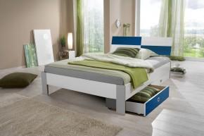 Sunny - Posteľ s úložným priestorom, 140x200cm (bílá s modrou)