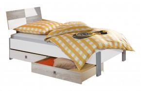 Sunny Posteľ s úložným priestorom, 90x200cm (dub, alpská biela)