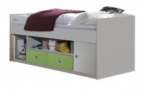 Sunny - Posteľ s úložným priestorom (biela so zeleným jablkom)