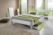 Sunny - Posteľ, úložný priestor, 140x200 (biela, zelené jablko)