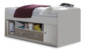 Sunny - Zvýšená posteľ s úložným priestorom (dub, alpská biela)
