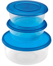 Súprava okrúhlych dóz HEIDRUN HDR1803, 2x0,7l + 1x1,7l, plast