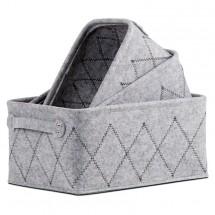 Súprava úložných košíkov (3 kusy, svetle sivá)