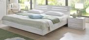 Susan - Komplet, posteľ 180 cm (biely dub, chrómové doplnky)