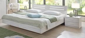 Susan - komplet, posteľ 180cm (biely dub, chrómové doplnky)