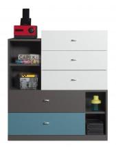 Tablo - komoda, 5x zásuvka (grafit/biela, lesk/atlantic)
