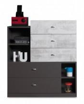 Tablo - komoda, 5x zásuvka (grafit/enigma)