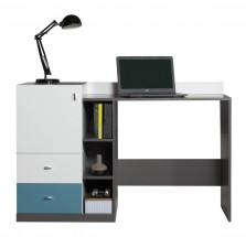 Tablo-písací stôl,1x dvere (grafit/biela, lesk/atlantic)
