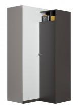 Tablo-šatníková skriňa, 90cm (grafit/biela,lesk/atlantic)