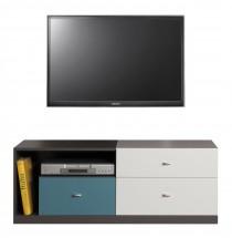 Tablo - TV stolík, 3x zásuvka (grafit/biela, lesk/atlantic)