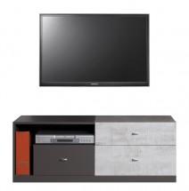 Tablo - TV stolík, 3x zásuvka (grafit/enigma)