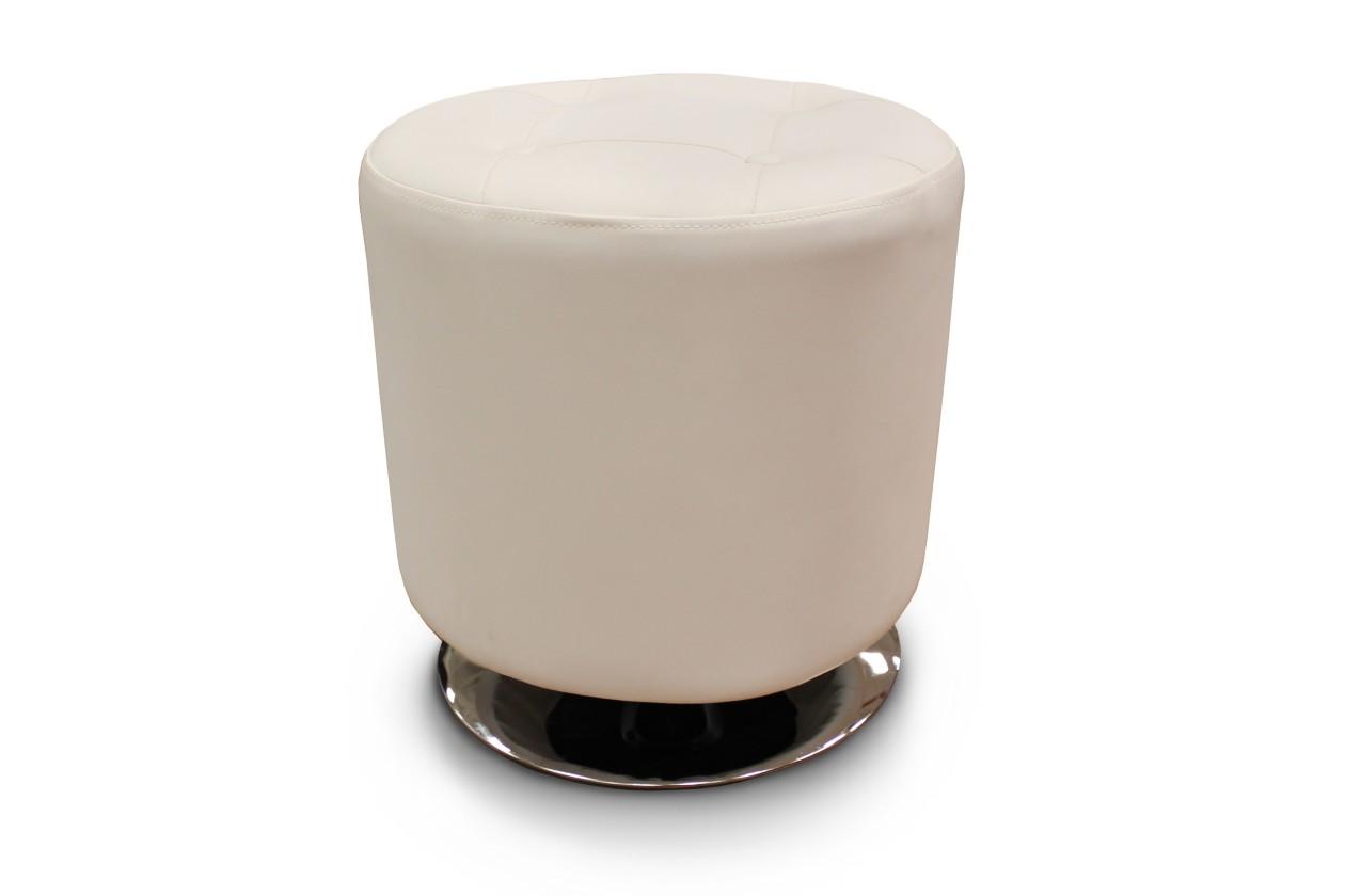 Taburet Kožená taburetka Dora kruh biela
