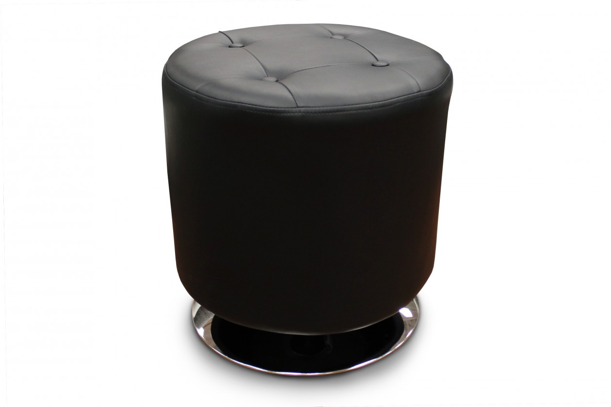 Taburet Kožená taburetka Dora kruh čierna