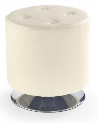 Taburet Kožená taburetka Dora kruh krémová