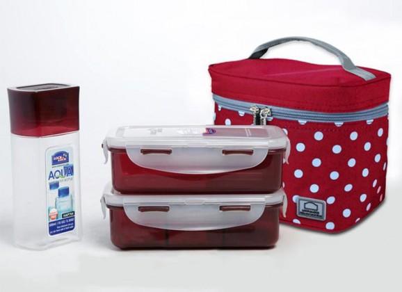 Taška Lunch boxes (červená, biela)