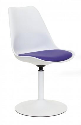 Tequila - Jedálenská stolička (biela, eko koža fialová)