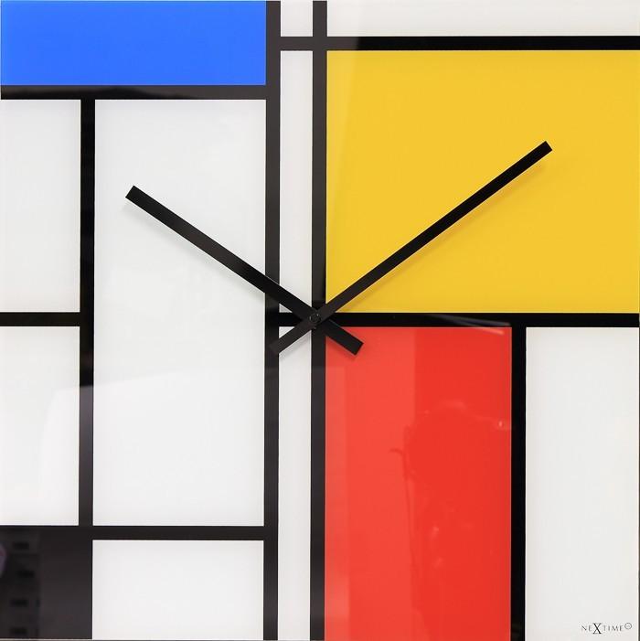 Times Lines - hodiny, nástenné, hranaté (sklo, farebné)