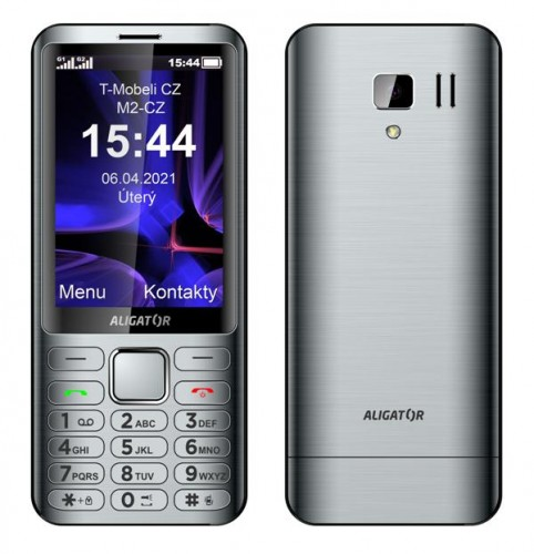 Tlačidlový telefón Aligator D950 Dual sim, strieborná