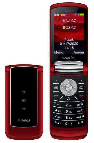 Tlačidlový telefón Aligator DV800, červená