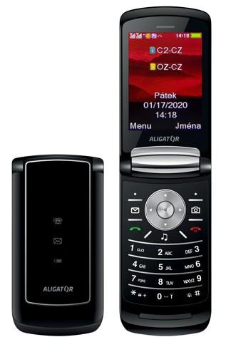 Tlačidlový telefón Aligator DV800, čierna