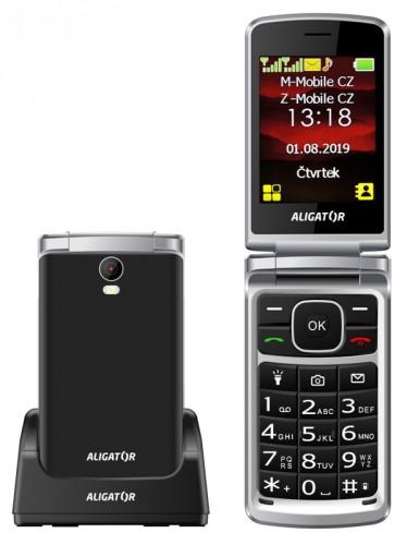 Tlačidlový telefón Aligator V710 čierno-strieborný